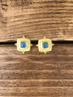 Load image into Gallery viewer, My Doris Gold Aqua Square Earrings