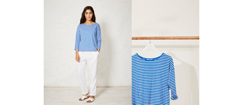breton stripe women loose fit long sleeve organic cotton top t-shirt light blue white ethical sustainable