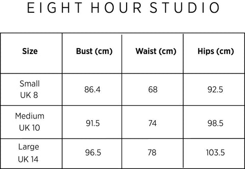 eight hour studio size chart