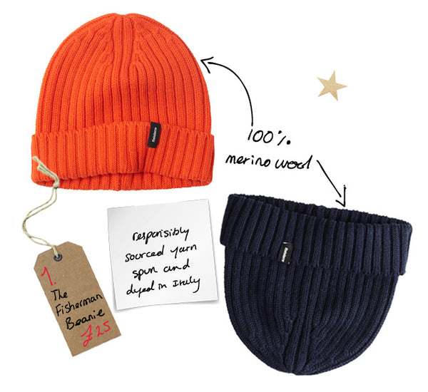 navy orange perfect best simple merino beanie