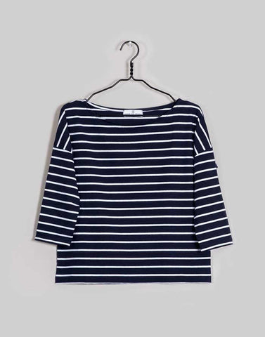 women's navy white stripe t-shirt organic fairtrade cotton