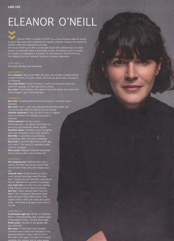 Eleanor O'Neill Luxe Magazine Sustainable Ethical knitwear