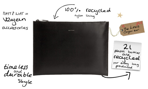 recycled vegan leather plain simple black organiser zip