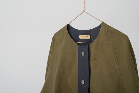 women's cotton waxed jacket navy green