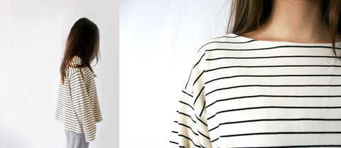 casual loose fit boat neck long sleeve ethical sustainable breton stripe t-shirt women made in uk