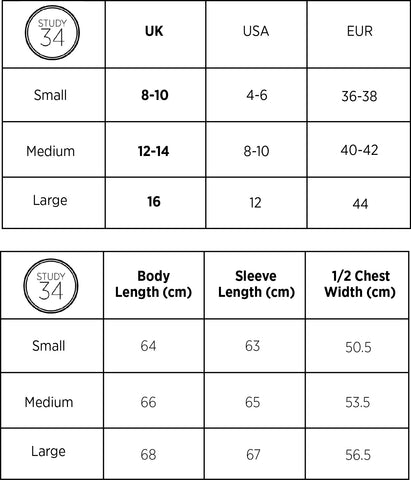women's knitwear size guide STUDY 34
