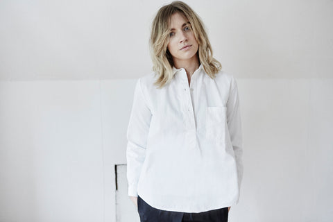 white cotton shirt woman placket casual relaxed chest pocket ethical sustainable eco