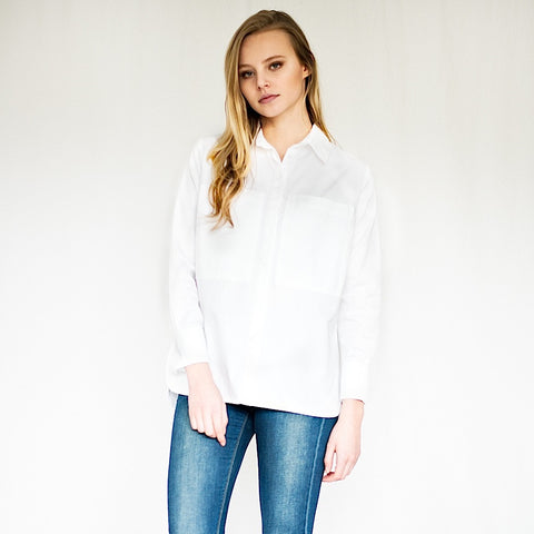 womens classic cotton white shirt chest pockets long sleeves casual style made in england