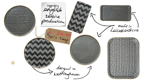 trays modern graphic spots stripes zigzag made in uk