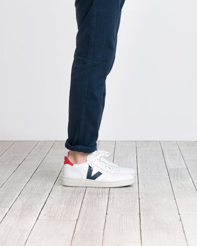 ethical sustainable shoes Veja white blue red