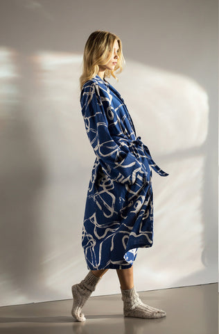 navy blue white hand printed robe dressing gown ethical sustainable eco-friendly women cotton khadi
