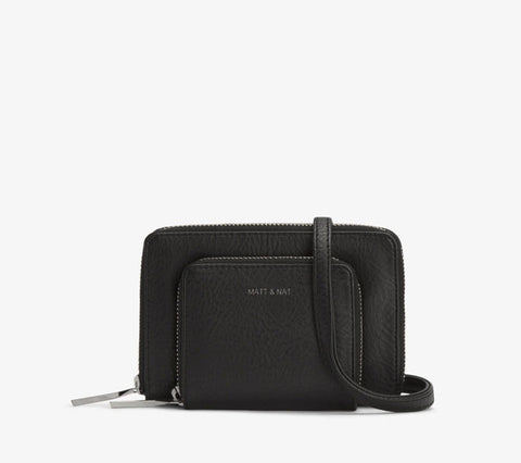 black vegan leather purse wallet bag