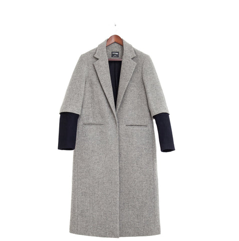 grey masculine coat women ethical sustainable fashion london