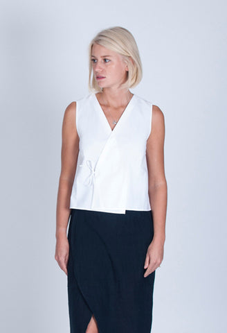 women's wrap top white cotton