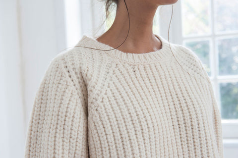 women's cream ribbed chunky jumper