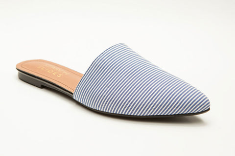 women's flat mule blue stripe