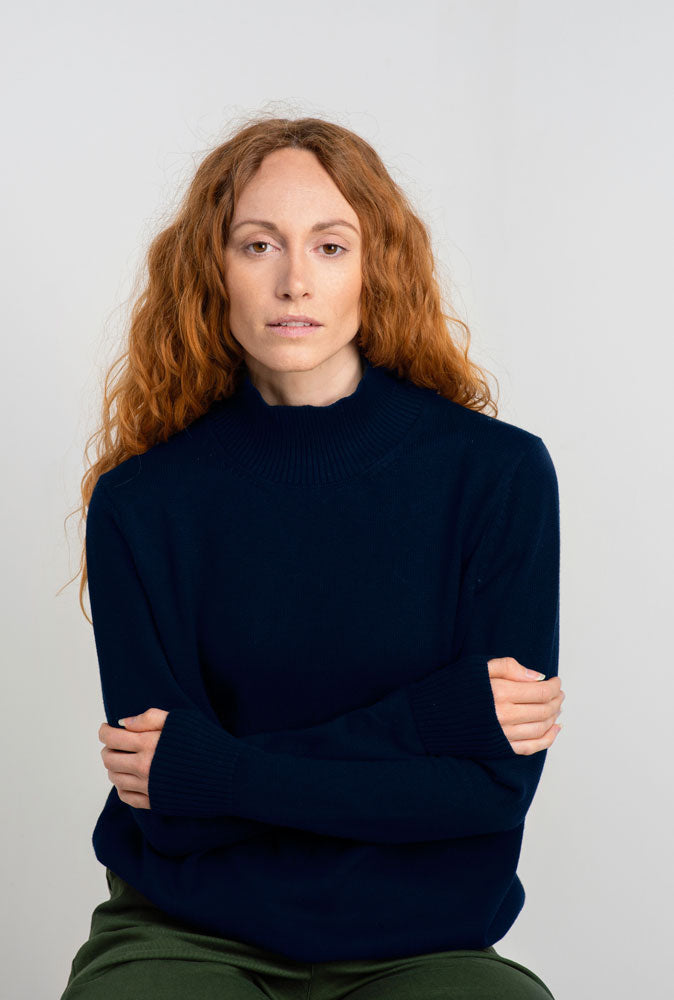 Women's Navy High Neck Alpaca Cotton Jumper
