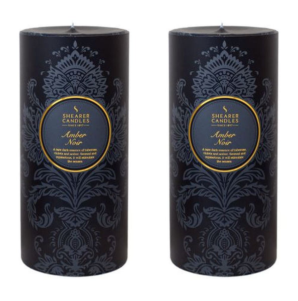 Amber Noir Scented Pillar Candle 2 Pack