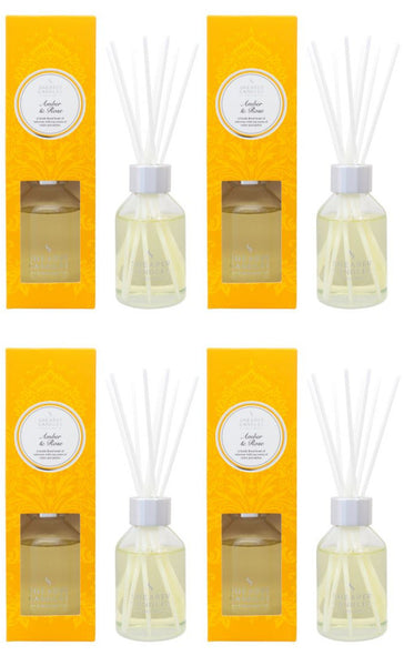 Amber & Rose Scented Room Diffuser 4 Pack