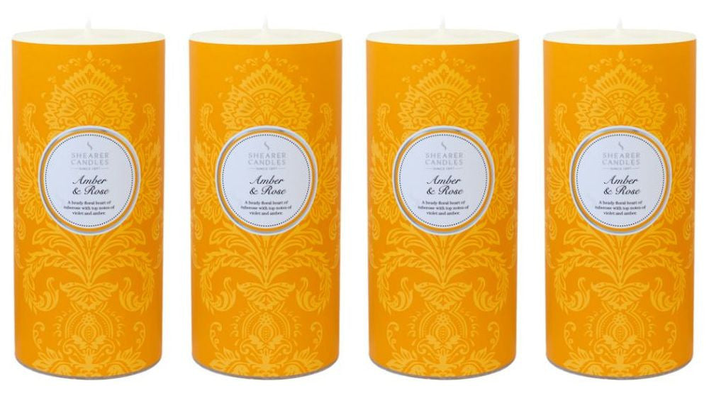 Amber & Rose Scented Pillar Candle 4 Pack