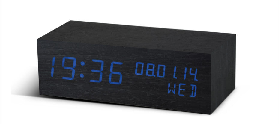 Square Black Click Clock / Blue Led
