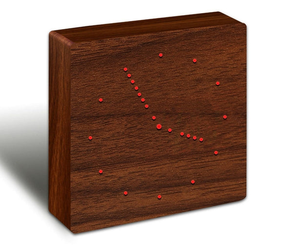 Walnut Wood Effect Analogue Click Clock - Red LED