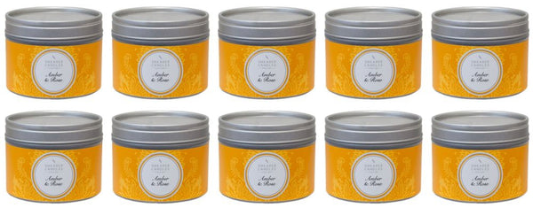 Amber and Rose Scented Small Tin Candle 10 Pack