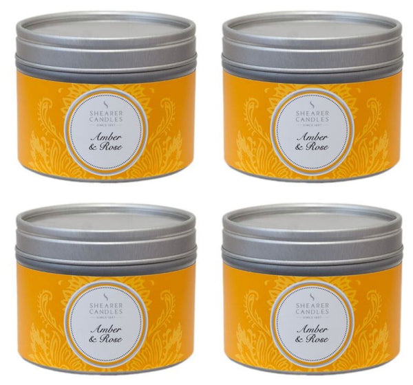 Amber and Rose Scented Small Tin Candle 4 Pack