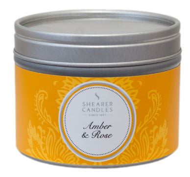 Amber and Rose Scented Small Tin Candle