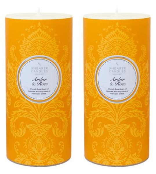 Amber & Rose Scented Pillar Candle 2 Pack