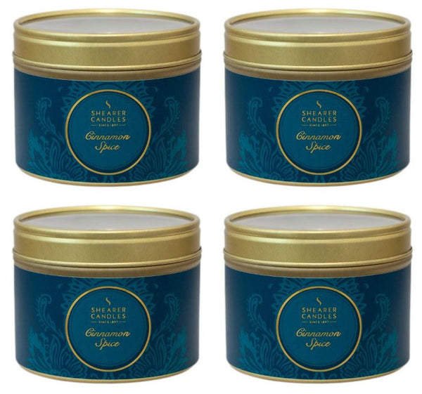 Cinnamon Spice Scented Small Tin Candle 4 Pack