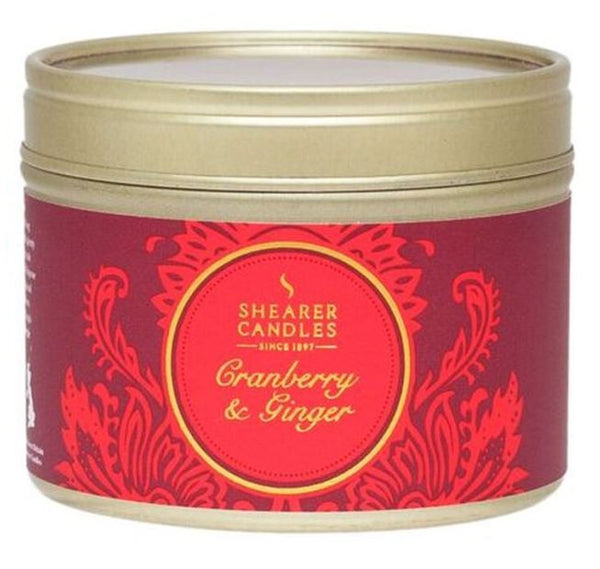 Cranberry and Ginger Scented Small Tin Candle