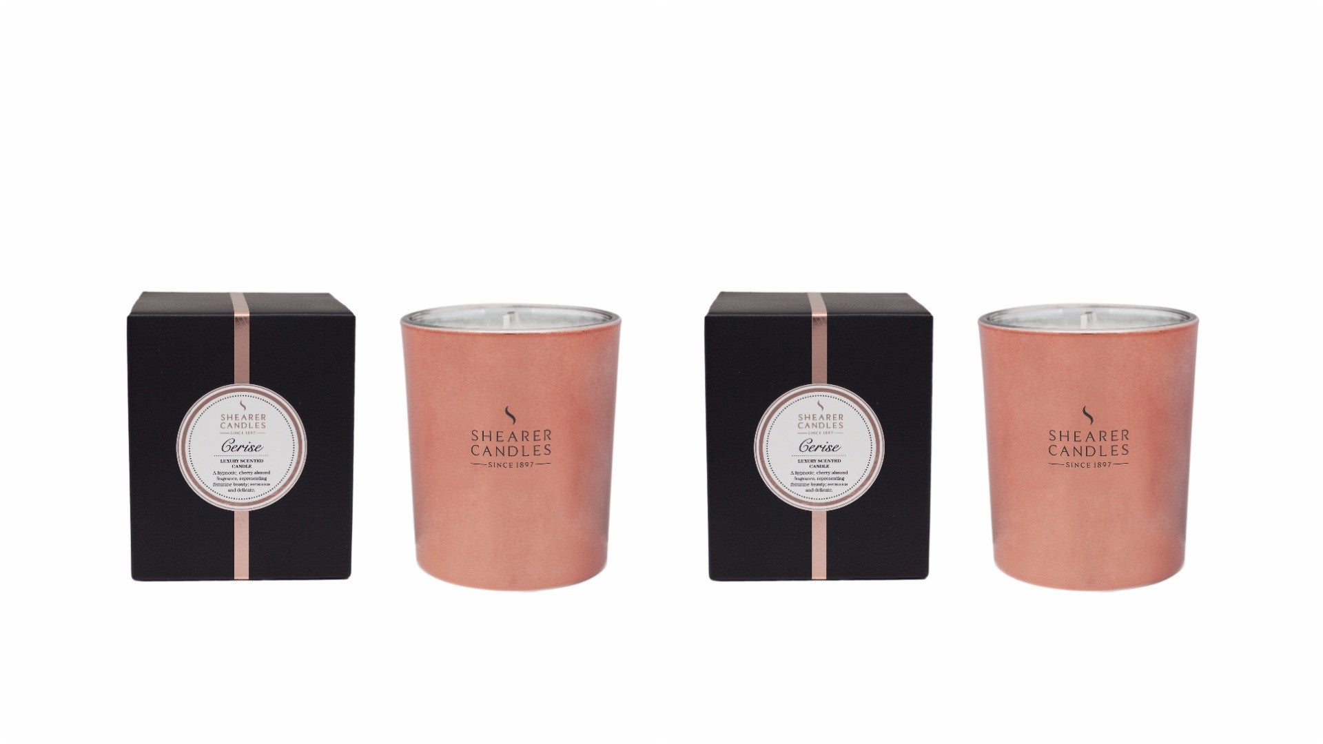 Cerise Scented Rose Gold Metallic Jar Candle in Gift Box 2 pack