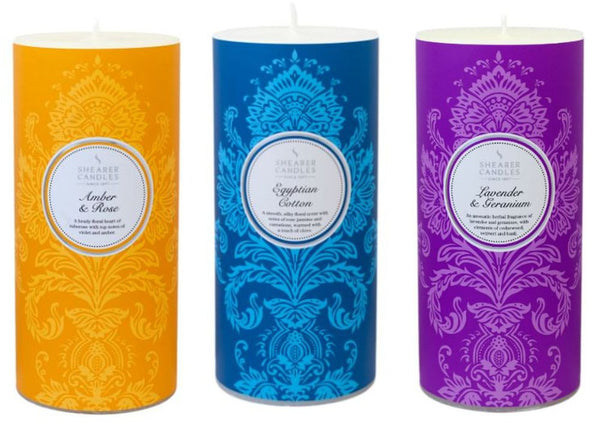 Christmas Pillar Candle Collection - Amber and Rose, Egyptian Cotton, Lavender and Geranium