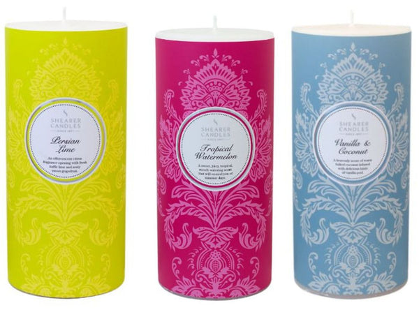 Christmas Pillar Candle Collection - Persian Lime, Tropical Watermelon, Vanilla and Coconut