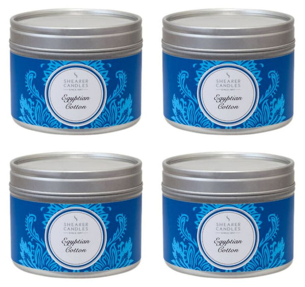 Egyptian Cotton Scented Small Tin Candle 4 Pack