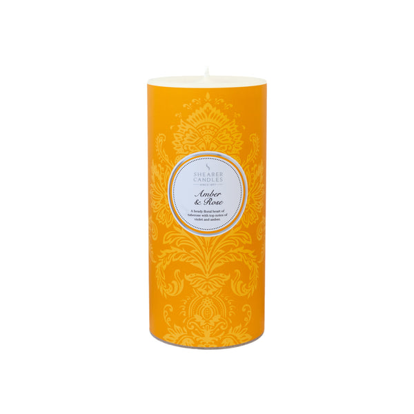 Amber & Rose Scented Pillar Candle