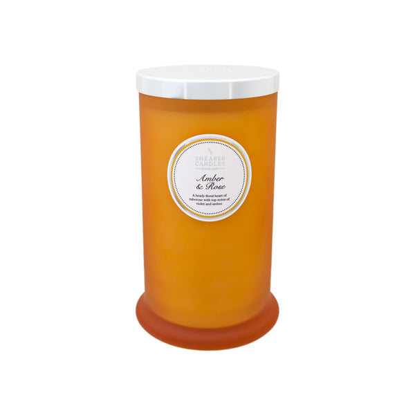 Amber & Rose Tall Pillar Jar Candle