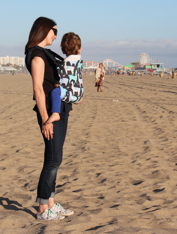 yookiwool blog author with son at the beach in santa monica