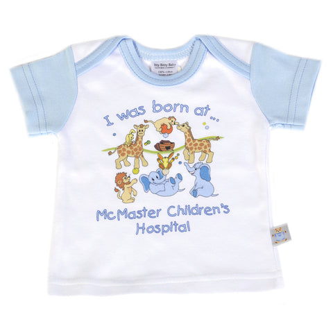"New Baby T-Shirt - ""I was born at McMaster Children's Hospital"", Blue - Giving Blooms"