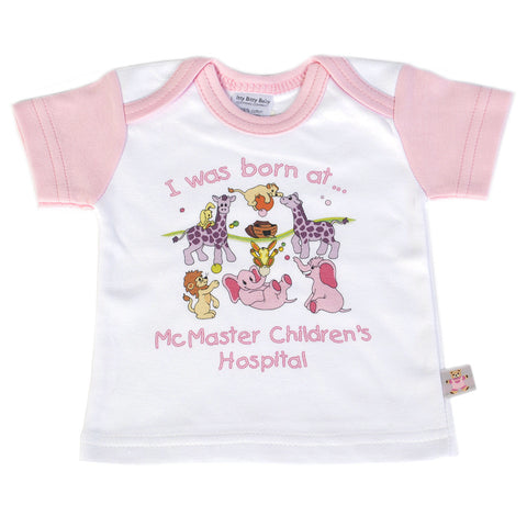 "New Baby T-Shirt - ""I was born at McMaster Children's Hospital"", Pink - Giving Blooms"