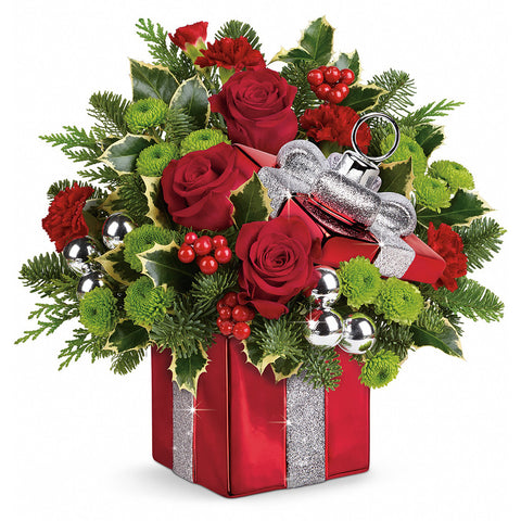 Holiday Gift Wrapped Bouquet - Giving Blooms