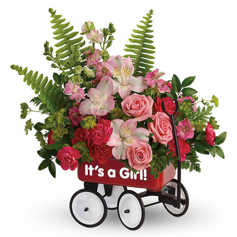 Sweet Little Wagon Bouquet - Pink