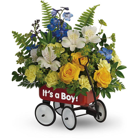 Sweet Little Wagon Bouquet - Blue