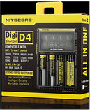 NiteCore D4 Charger with Integrated LCD select vapes