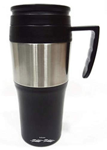 Activave Stainless Steel Travel Mug Hot & Cold Stainless Steel Coffee Mug (Black & Silver 400 ML)