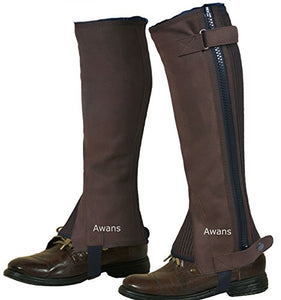 Horse Riding Half Chaps Equestrian/New Unisex/Washable Amara Suede Leather; Colour: Brown | Size: X Large