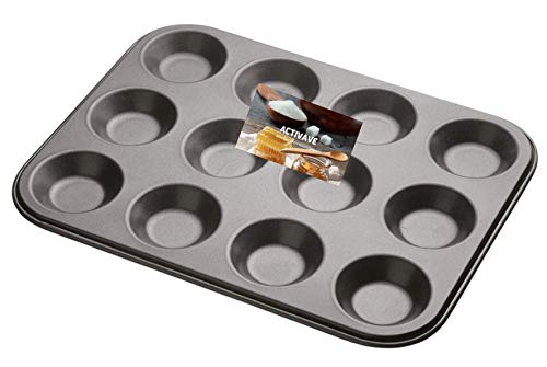 Activave Bun Tray, Mince Pie Baking Tray, Cup Cake Tray, Non Stick Fairy Cake Tray, Robust 1mm Carbon Steel, Tart Tin (12 Cup Cake Tray)