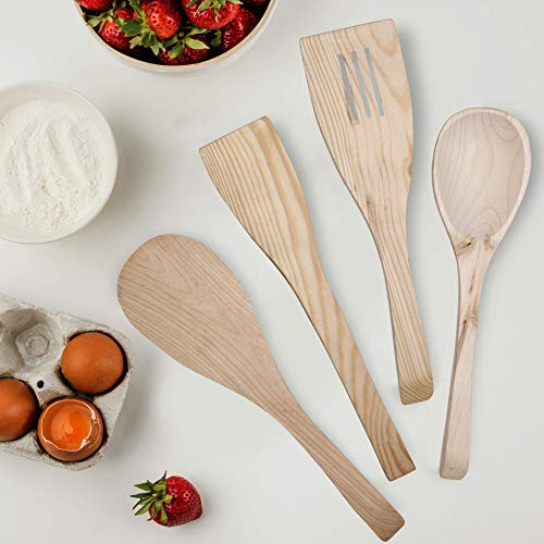 Activave Wooden Cooking Utensils (4 PC Set With Tong)