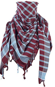 Activave Military Scarf 100% Cotton Shemagh Men's Scarves Tactical Desert Scarf Bandana for Men & Women, Keffiyeh Head Neck Wrap (Red and Blue)